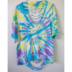 HANDMADE TIE DYE CUT OUT OPEN BACK TEE